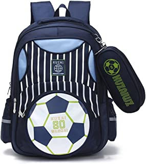 Mysticbags Boys Backpack Soccer Printed Kids School Bookbag for Primary Students Dark Blue