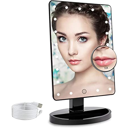 COSMIRROR Lighted Makeup Vanity Mirror with 10X Magnifying Mirror, 21 LED Lighted Mirror with Touch Sensor Dimming, 180°Adjustable Rotation, Dual Power Supply, Portable Cosmetic Mirror (Black)