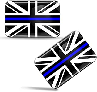 2 x 3D Domed Silicone Stickers Decals UK United Kingdom Union Jack Great Britain Thin Blue Line National Police Support Flag Car Motorcycle Helmet F 52