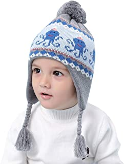 Home Prefer Boys Girls Winter Hat Warm Fleece Knit Earflaps Hat for Kids