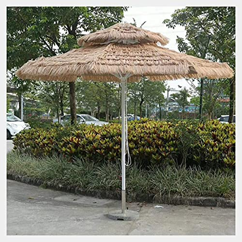 Bktmen Paraguas de Paja Doble con Base, Paraguas de Playa a Prueba de Agua al Aire Libre, para jardín Piscina terraza Playa sombrilla