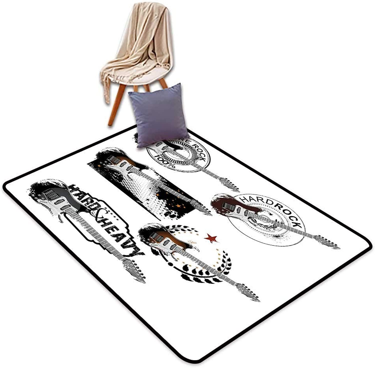 Non-Slip Door mat Rock Music Various Electric Guitar Pattern with Stars Lines and Leaves Arrangement Abstract W4'xL6' Suitable for Family