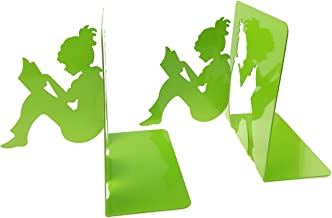 3D Paper-cut Little Girl Is Reading Patten Metal Bookends Book Ends For Kids Teenagers Teachers Students Adults Study Home School Library Office Decoration Birthday Christmas Gift (Green)