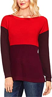 VINCE CAMUTO Women's Long Sleeve Crew Neck Color Block Sweater