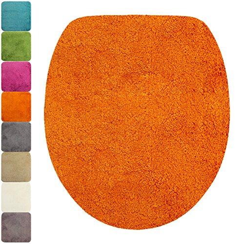 PROHEIM WC-Deckel-Bezug Flauschiger Toilettendeckelbezug Klodeckelbezug mit Gummizug Premium Badteppich oval 1200 g/m² weich & kuschelig Hochflor, Farbe:Orange