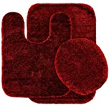 Garland Rug 3-Piece Traditional Nylon Washable Bathroom Rug Set, Chili Pepper Red
