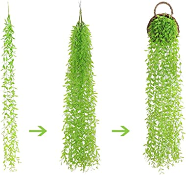 Fake Hanging Plants Artificial Vine, Plastic Ivy Greenery Christmas Garland Faux Vines Grass Flowers Leaves Home Garden Outdo