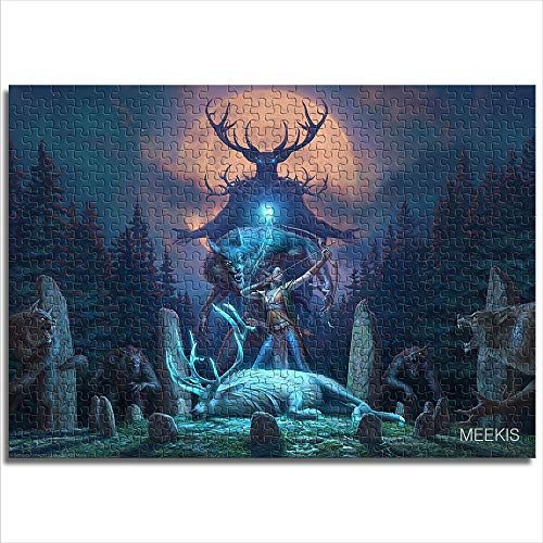 Zeo Qi Lin Zou Children's adult puzzle The Elder Scrolls Online Wolfhunter 38x26cm paper mini1000 piece parent-child game to enhance thinking and logic, the best toy