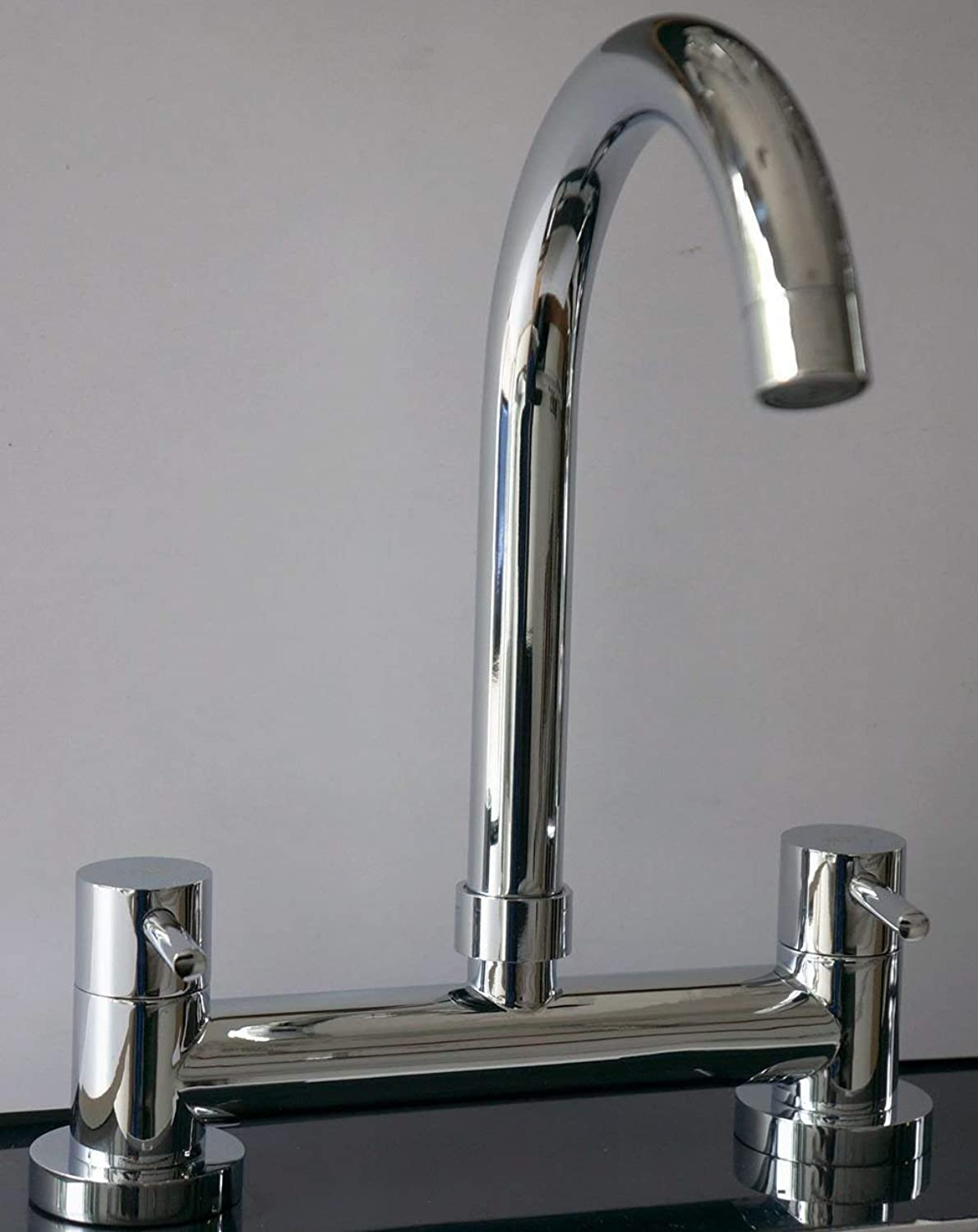 New Dual Lever Kitchen Sink Deck Mixer Chrome TAP 1 4 Turn 2 Hole 180MM Centre TM
