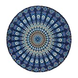 JUNGEN Telo Mare Rotondo Tondo arazzo Mandala Coperta da Spiaggia Elegante Protezione Solare Scialle Tappetino da Yoga Avvolgente