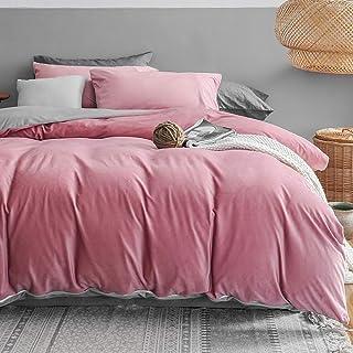 Michorinee Parure de lit d'hiver en peluche - 220 x 240 cm - Toucher cachemire duveteux et chaud - Polaire corail - Rose/g...