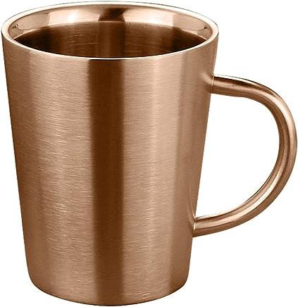 Preisvergleich für BESTOMZ 304 Edelstahl Kaffeebecher Kaffeetasse Doppelwandige Bierkrug Tee Tasse mit Griff - Roségold, 400ml