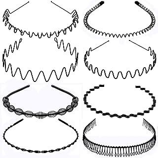 Oaoleer Metal Headbands for Men Women, Fashion Spring Wavy Black Non Slip Hair Bands 8 PCS