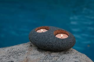 Garden Age Supply Natural Beach Pebble Tea Light Candle Holders (Double)
