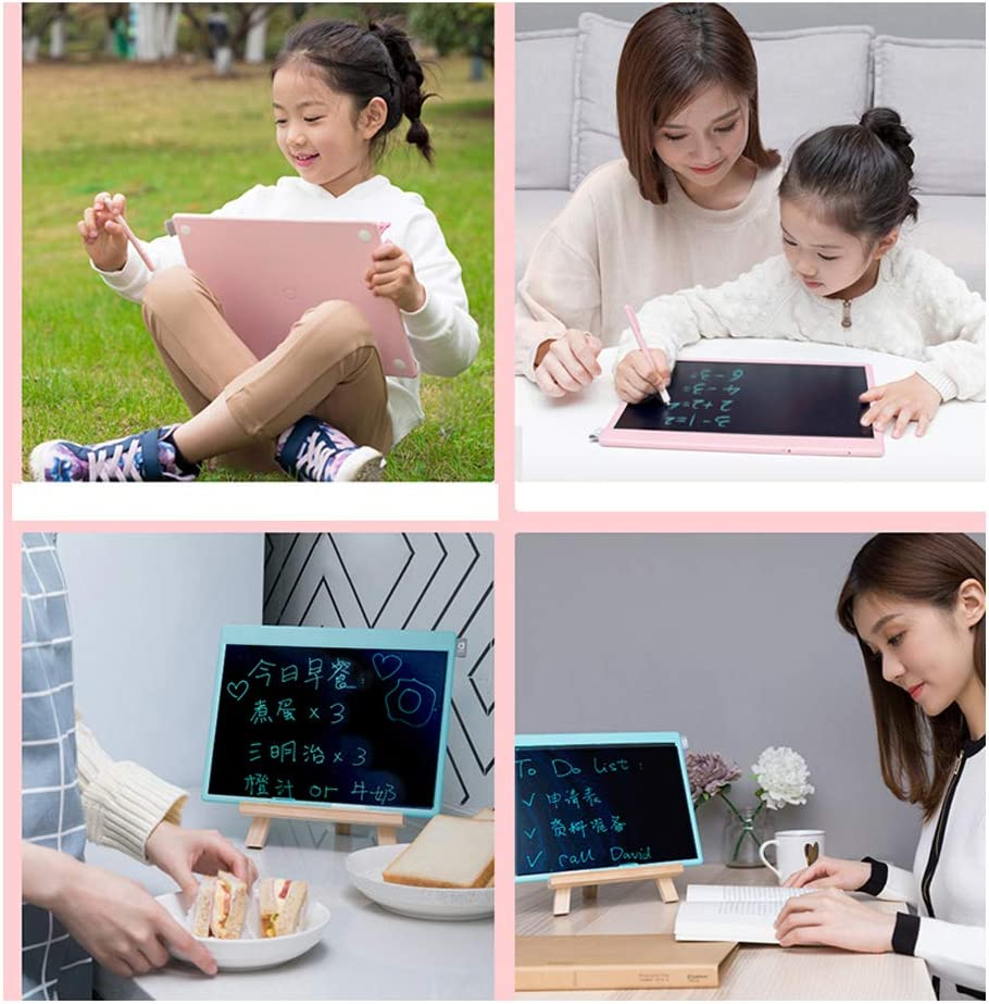 JRMU LCD Writing Tablet 13.5-inch 2 Smart Stylus Portable Drawing Tablet Lock Erase Button Electronic Graphic Doodle Pad for Daily Planner Education-Pink 2-Stylus