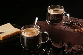 TimiCare Cappuccino Glass Mugs 8.5oz 250 ml,Clear Coffee Mug Set of Espresso Mug Cups,Double Wall Insulated Glass Mug with...