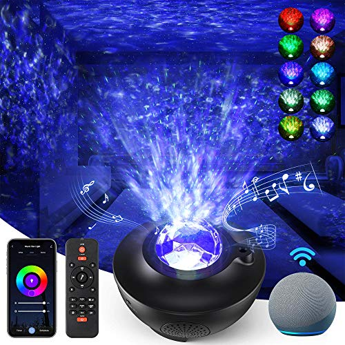 Galaxy Projector Star Light Room Decor for Bedroom Starry Night Light for Ceiling, 8 in 1 Smart WiFi Music Star Light with Remote Control, Sky Lite Work with Alexa, Google Assistant