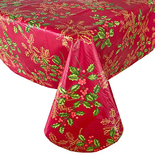 """Newbridge Red Golden Holly and Berry Christmas Vinyl Flannel Backed Tablecloth - Red Metallic Gold Holly Print Wipe Clean Easy Care Kitchen, Dining Room Tablecloth, 52"""" x 70"""" Oblong/Rectangle"""