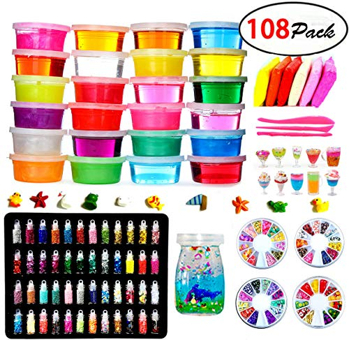 DIY Crystal Slime Kit - Slime kits for Girls Boys Toys with 48 Glitter Powder,Clear Slime Supplies for Kids Art Craft,Includes Air Dry Clay, Fruit Slice and Tools,Squeeze Stress Relief Toy (24 Colors)