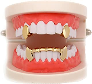 LuReen 14k Gold Vampire Dracula Teeth Grills 2pc Single Fangs and 6 Bottom Grills Set