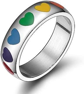 6mm Stainless Steel Enamel Heart Rainbow Ring Lesbian Gay Pride Wedding Band