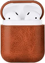 AirPods Case Cover, Leather Case Cover for AirPods, PU Leather Portable Protective Shockproof Cover for Apple AirPods 2 & 1 (Brown)