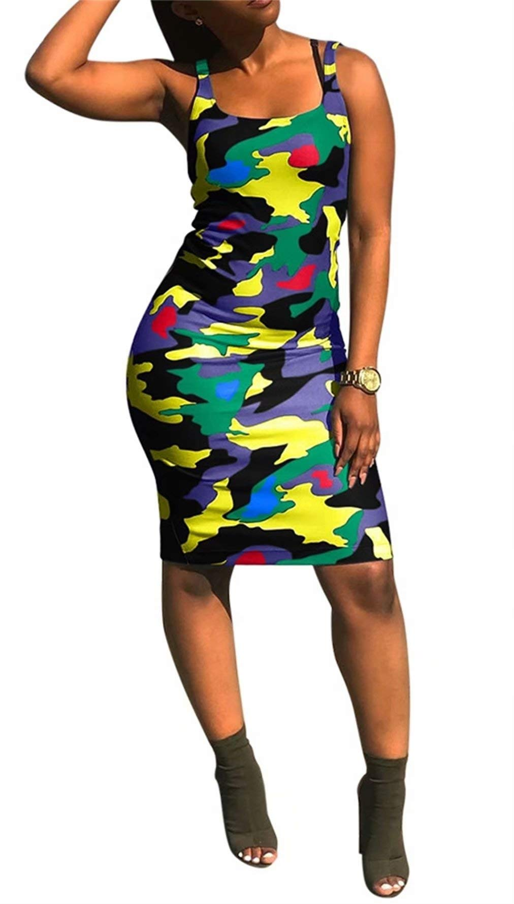 Available at Amazon: Women's Summer Tank Midi Pencil Dress Casual Sleeveless Camo Printed Bodycon Dresses Cocktail Plus Size
