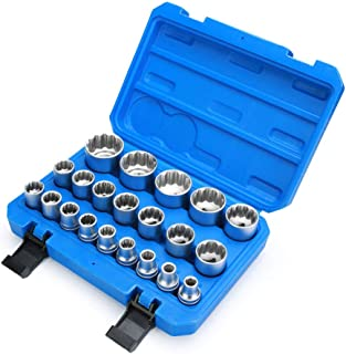 "Renekton 1/2"" Drive Universal Spline Socket Set,Nut Removal Tool, Cr-V Steel, Rounded Bolt Remover, 19 Piece"