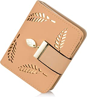 GLADDON Small Wallets for Women Vintage Hollow Bifold Card Holder Khaki