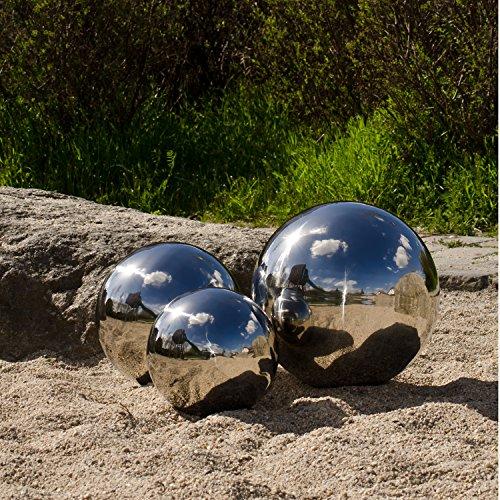 Köhko 3er Gartenkugeln Set-10 Ø 6-9-12 cm polierte Dekokugel aus hochwertigem Edelstahl 6-9-12