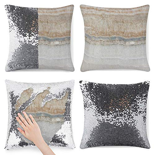 Sequin Pillow Cover, Minimalist Modern Chic Beige Tan White Grey Marble, Zipper Pillowslip Pillowcase, Decorations for Sofas, Armchairs, Beds, Floors, Cars