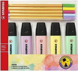 Kit 5 Marcadores de Texto Boss e 5 Canetas Point 88 04mm, Stabilo, 55.3400, Tons Pastel