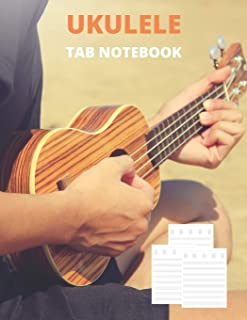 Ukulele Tab Notebook: Composition and Songwriting Sheet Music Songbook with Chord Boxes and Blank Tablature Lines For Begi...