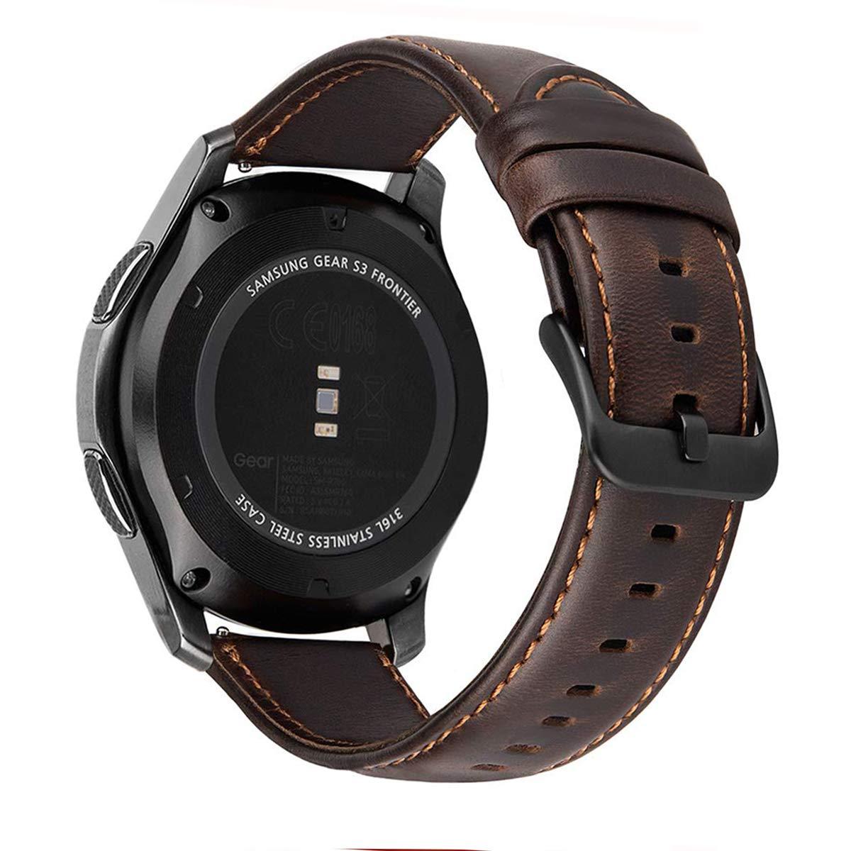 MroTech Correa Gear S3 Compatible para Samsung Galaxy Watch 46mm/S3 Frontier/Classic Pulseras de Repuesto para Huawei Watch GT 2 /GT Sport/Active/Elegant Correa 22mm Piel Banda de Cuero -café: Amazon.es: Electrónica