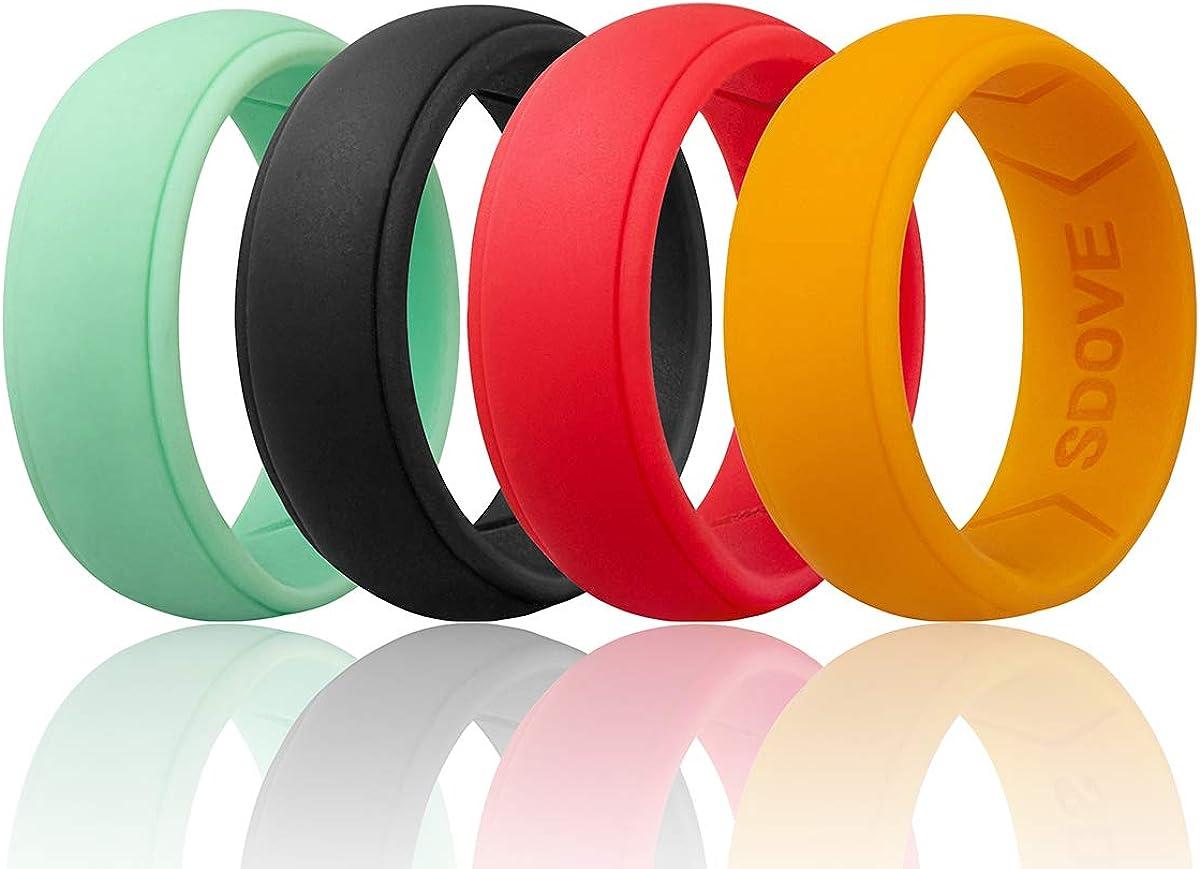Sdove Silicone Wedding Ring for Men,Step Edge Rubber Wedding Band