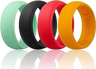 خاتم زفاف من السيليكون للرجال من Sdove مطاطي بحافة دائرية
