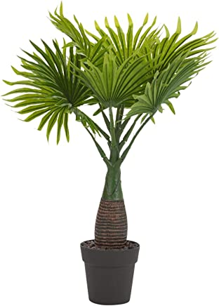 Fourwalls Synthetic Artificial Bonsai Fan Palm Plant with Pot (10 Branches, Green, 40 cm Tall)