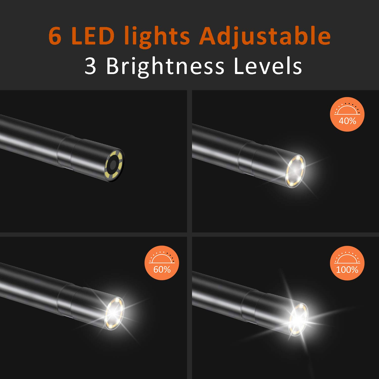 6 LED Lights,16.4 ft Removeable Snake Cable,32G TF Card Dual Lens Industrial Endoscope,1080P HD Handheld Borescope with IP67 Waterproof Camera,4.3 Inch LCD Screen
