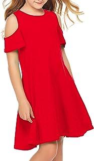 لباس تابستانی دخترانه Arshiner آستین کوتاه شانه سرد و یکدست لباس تابستانی و رنگی تابستانی و جیب دار