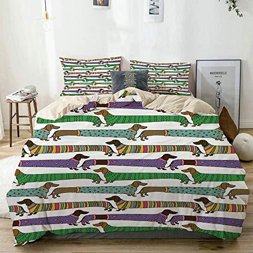 Juego de funda nórdica beige, perros salchicha estilo dibujos animados vestidos con pijamas, líneas de chevrón, lunares y corazones, juego de cama decorativo de 3 piezas con 2 fundas de almohada, fáci