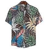 Camisa Hombres Verano Casual Camisa Playa Transpirable Tendencia Impresión Botón Tapeta Solapa Hombres Manga Corta Suelta Cómoda Moda Camisa Hawaii CS123 XL