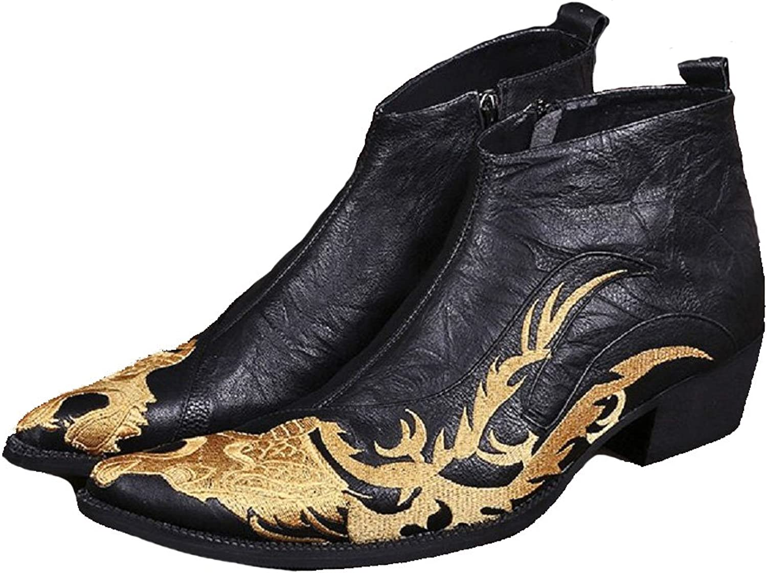 Cover Plus Size 5-12 New gold Embroidered Dragon Genuine Leather Dress Zip Ankle Boots Mens shoes