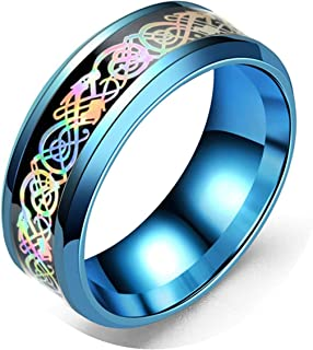 KnSam Stainless Steel Mens Rings Dragon Pattern Colorful Ring Size 6-13