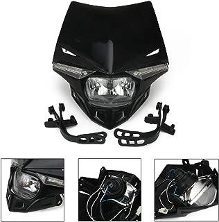 Universal Motorcycle Supermoto Headlight LED Dirt Bike Headlight Front Head Light For Honda Kawasaki suzuki KTM 12V 35W, Black
