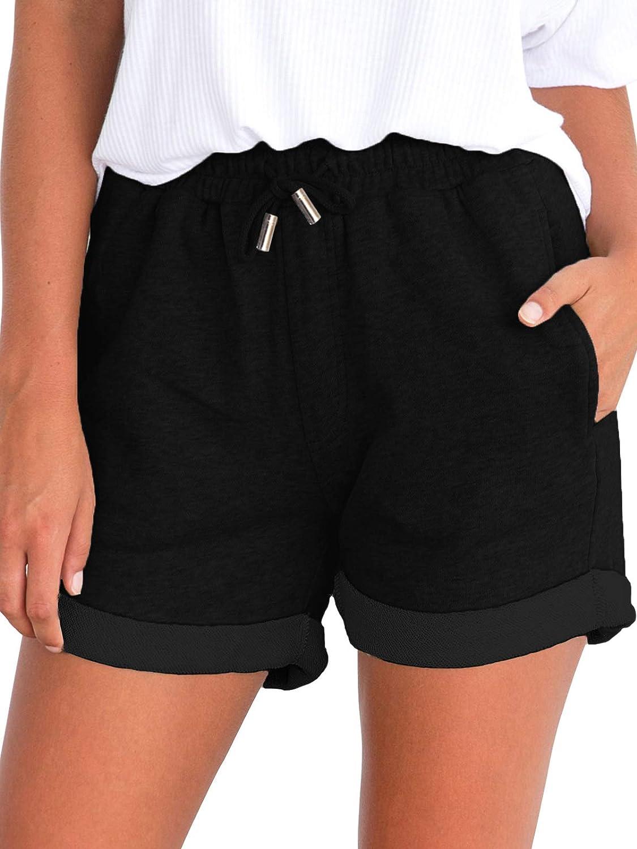 Govc Women's Juniors Shorts Casual Summer Elastic Waist Beach Shorts with Drawstring