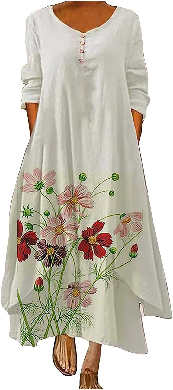 Maxi Dress Women's Vintage Long Sleeve Loose Hem Irregular Dress Lotus Flower Button Cocktail Party Wedding Sun Dresses