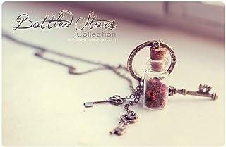 Collana della bottiglia di vetro di Dream Keys Collana di vetro della fiala. Ciondolo in bottiglia in miniatura, flaconcin...