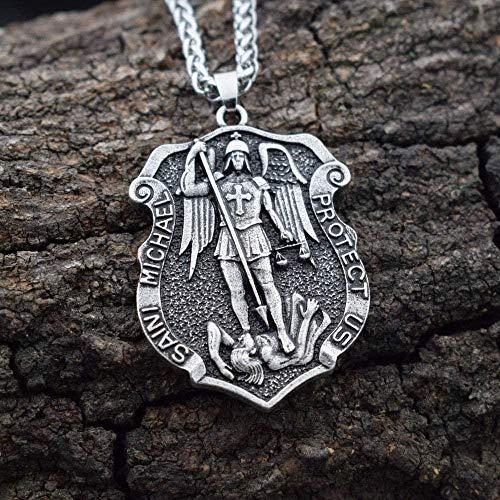 pyongjie Collar de Medalla de oración con Escudo de San Miguel Arcángel de 1 Uds. para él o para Ella, Longitud Unisex de Unos 45 cm