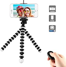 Phone Tripod,Flexible Cell Phone Tripod Adjustable Camera Stand Holder with Wireless Remote and Universal Clip 360° Rotating Mini Tripod Stand for iPhone 11 Pro XS MAX XR X,Samsung S10 Android Phone