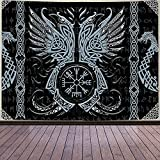 Aidatain Viking Art Tapestry Odin's Crow Ancient Rune Dragon Totem Nordic Mythology Tapestry Flannel Large Size 80x60 Inches Tapestry for Bedroom Living Room GTWHAT382